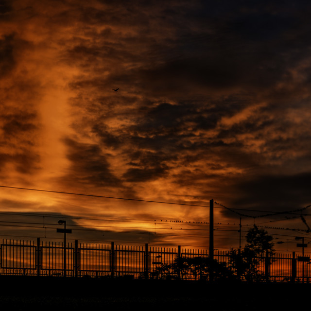 """""""Sun-setting at a train station"""" stock image"""