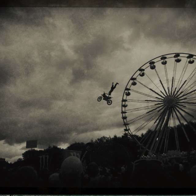 """Flying motorbike"" stock image"