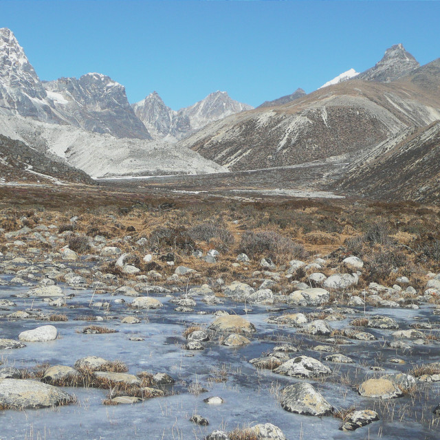 """Frozen River, Nepal"" stock image"