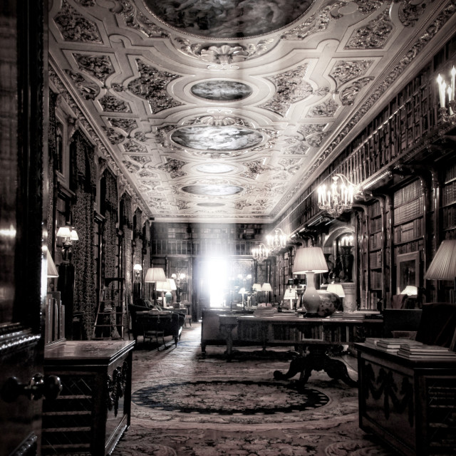 """Chatsworth House Library"" stock image"