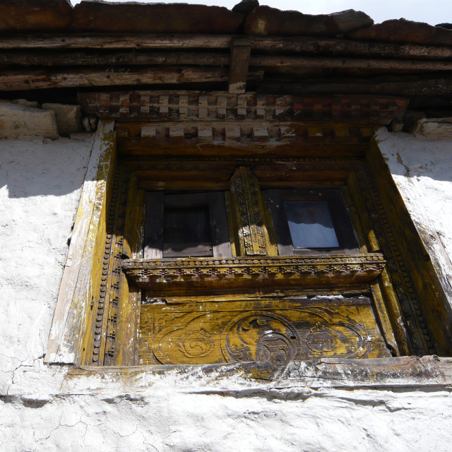 """Window, Khumjung, Nepal"" stock image"