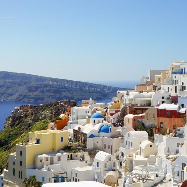 """View at the Greek Aegean island, Santorini"" stock image"