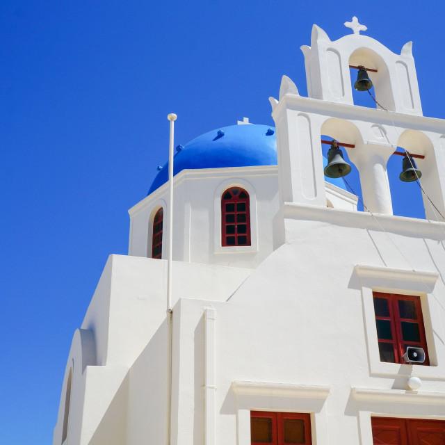 """View at the Church at Santorini, Greek Aegean island"" stock image"