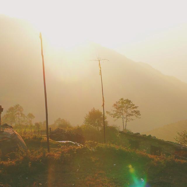 """Sunset, Nepalese Himalaya"" stock image"