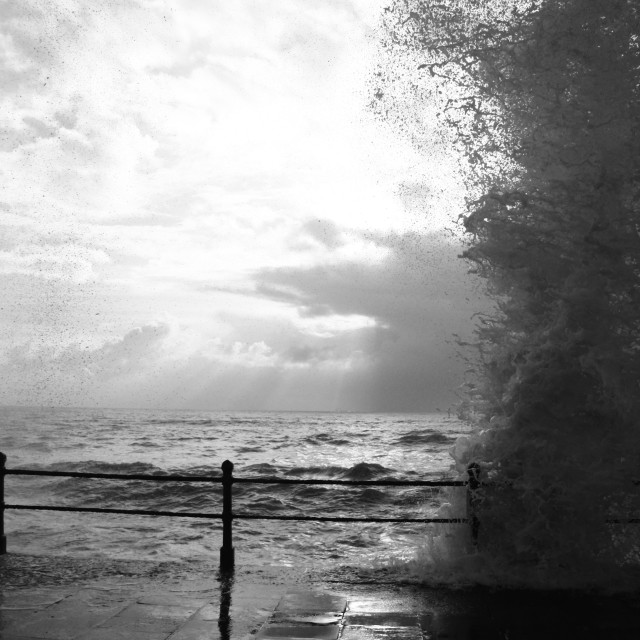 """Waves Crashing, Penzance Promenade"" stock image"