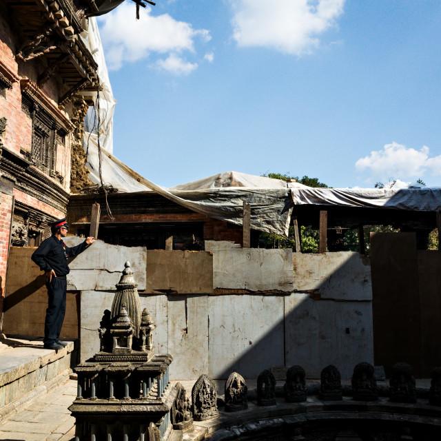 """""""Guard at Patan Durbar"""" stock image"""