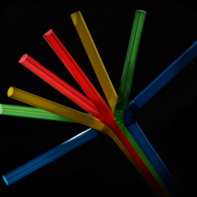 """Rainbow of straws"" stock image"