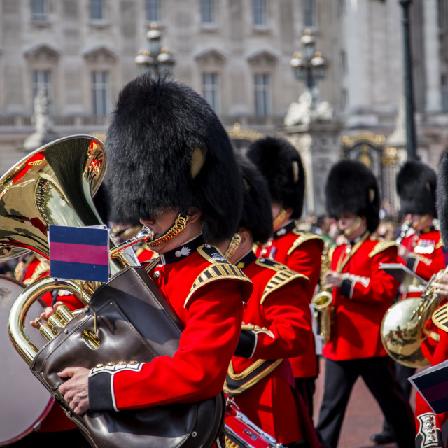 """Guardsmen during the Changing of the Guard at Buckingham Palace"" stock image"