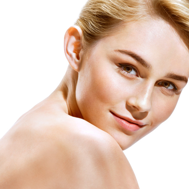 """Beautiful Girl face. Perfect skin. Photo of attractive blonde girl on white background. Youth and skin care concept"" stock image"