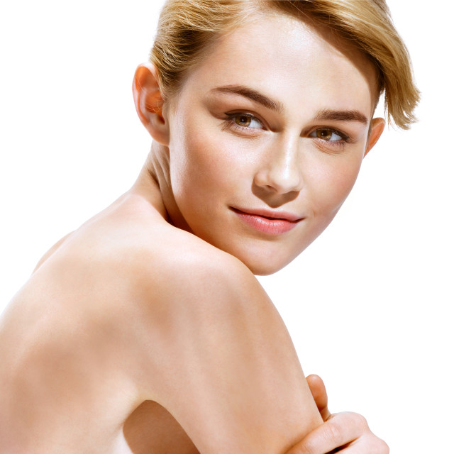 """Beautiful sensual blonde girl. Close-up of an attractive girl of European appearance on white background. Skin care concept"" stock image"