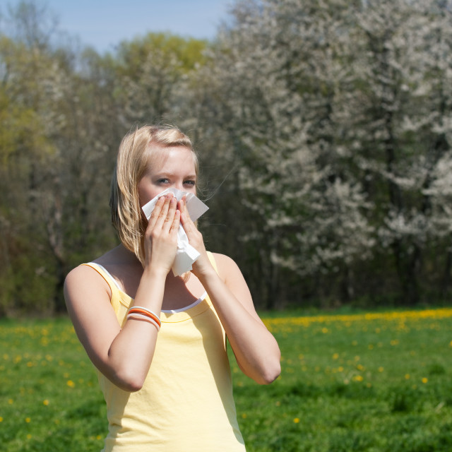 """""""Woman with allergy sneezing"""" stock image"""