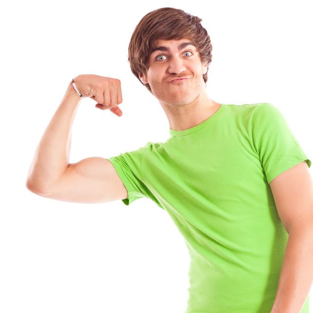 """""""Man showing biceps"""" stock image"""