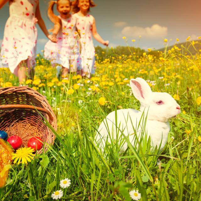 """""""Children on egg hunt for Easter with rabbit on meadow"""" stock image"""
