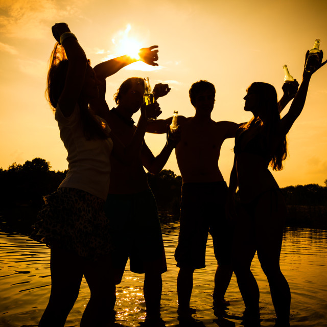 """Summer party people on beach"" stock image"