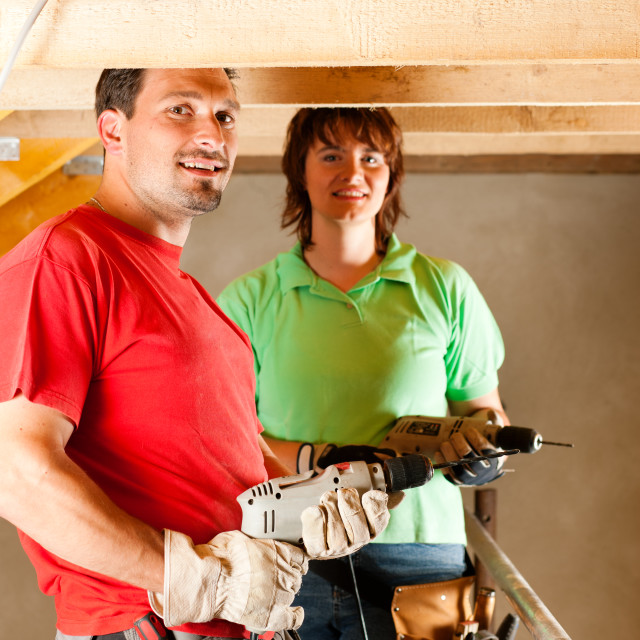 """""""Couple in home improvement"""" stock image"""