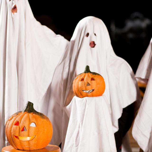 """spooks at Halloween - focus on pumpkin"" stock image"