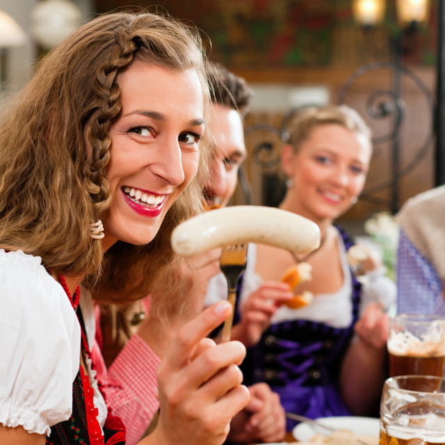 """""""Breakfast with Bavarian white veal sausage"""" stock image"""
