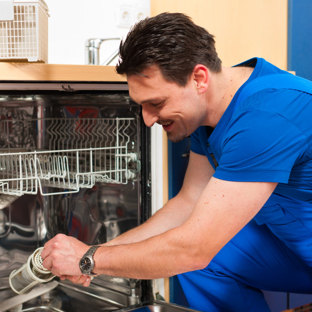 """Technician repairing the dishwasher"" stock image"