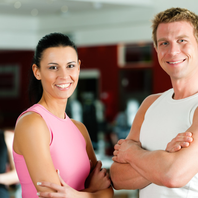 """Sportive couple in gym"" stock image"
