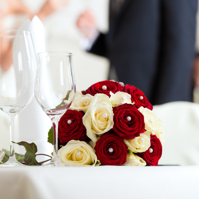 """Table at a wedding feast"" stock image"
