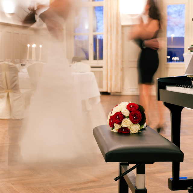 """""""Bride and groom dancing the first dance"""" stock image"""