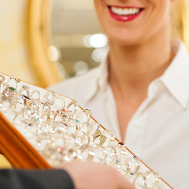 """Shop assistant at the jeweller"" stock image"