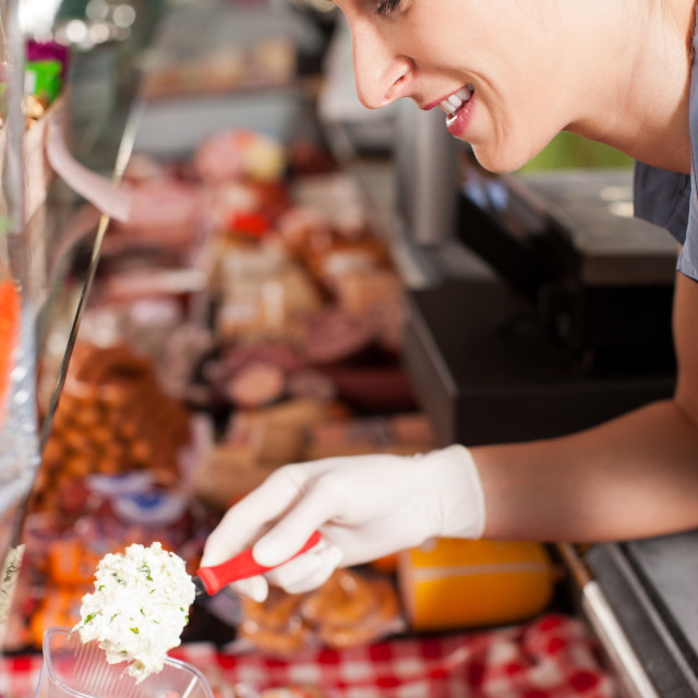 """Working in a butchers shop"" stock image"