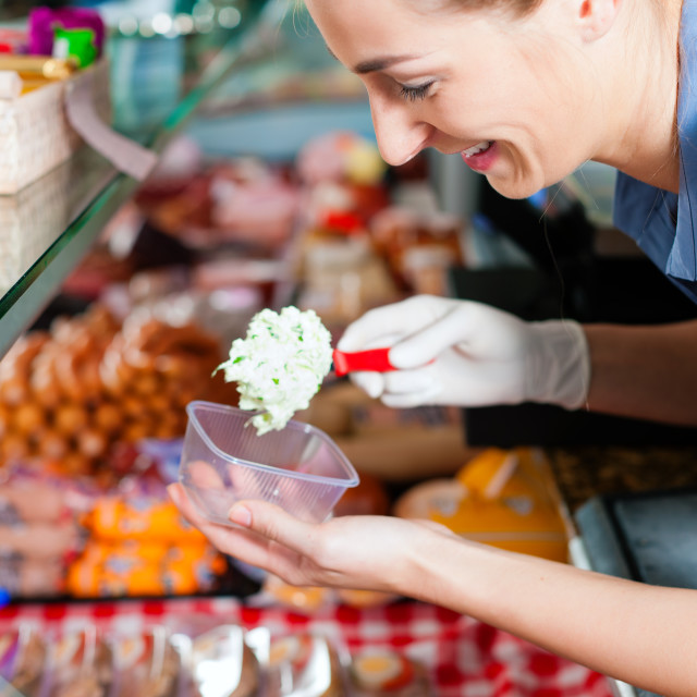 """Working in a butcher's shop"" stock image"