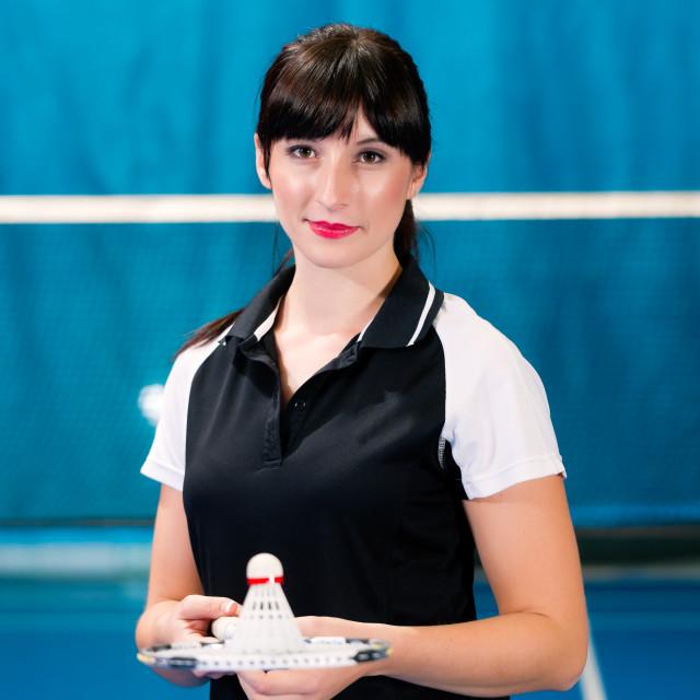 """Badminton sport in gym court"" stock image"