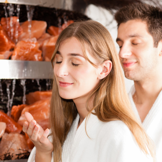 """""""Young couple in salt cave of a Spa"""" stock image"""