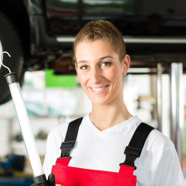 """Mature man and female car mechanic in workshop"" stock image"