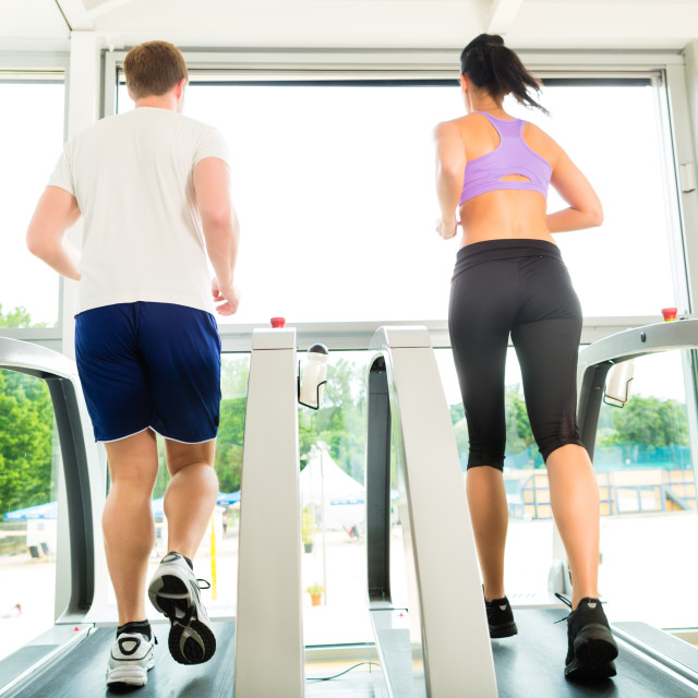 """""""People in sport gym on treadmill running"""" stock image"""