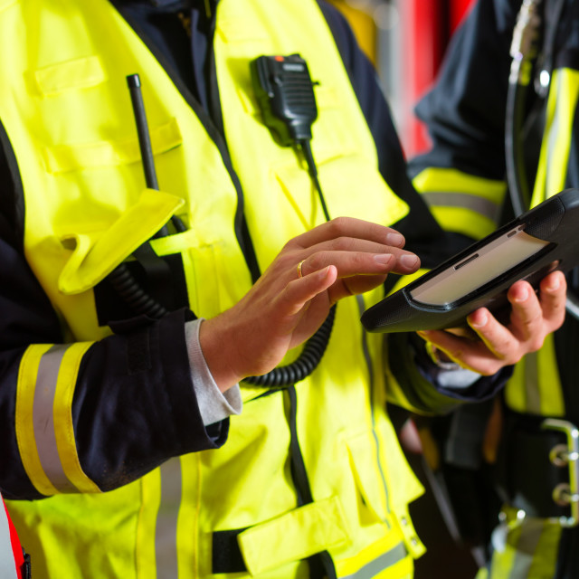 """""""Fire brigade deployment plan on Tablet Computer"""" stock image"""