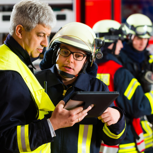 """""""Fire brigade deployment planning on Computer"""" stock image"""