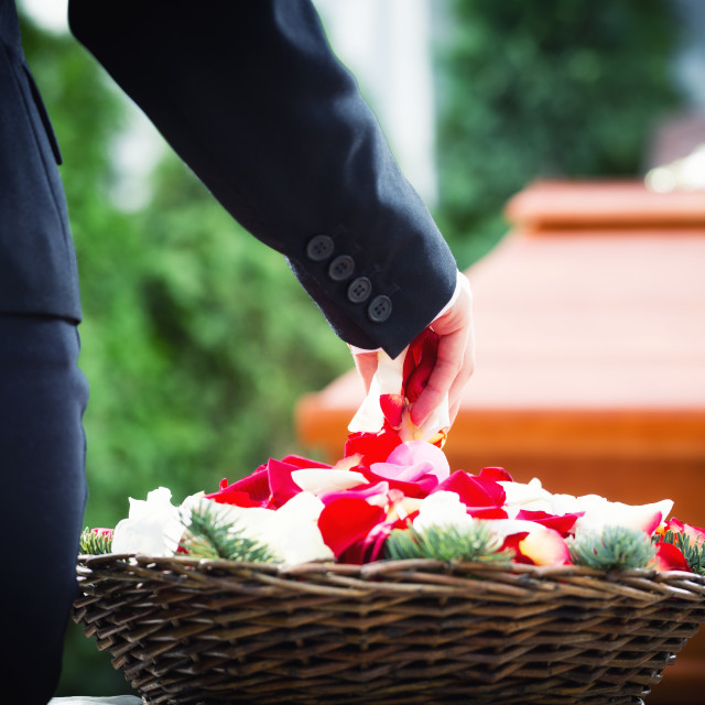 """Woman on funeral putting rose petals on coffin"" stock image"