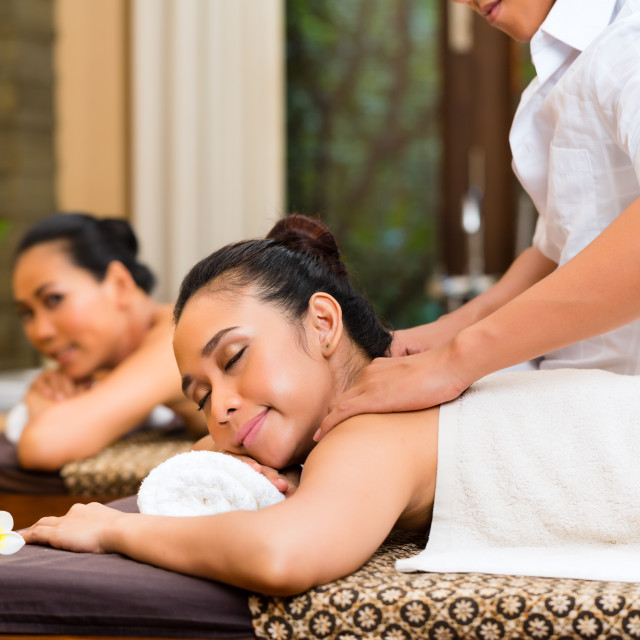 """Indonesian women at wellness spa massage"" stock image"