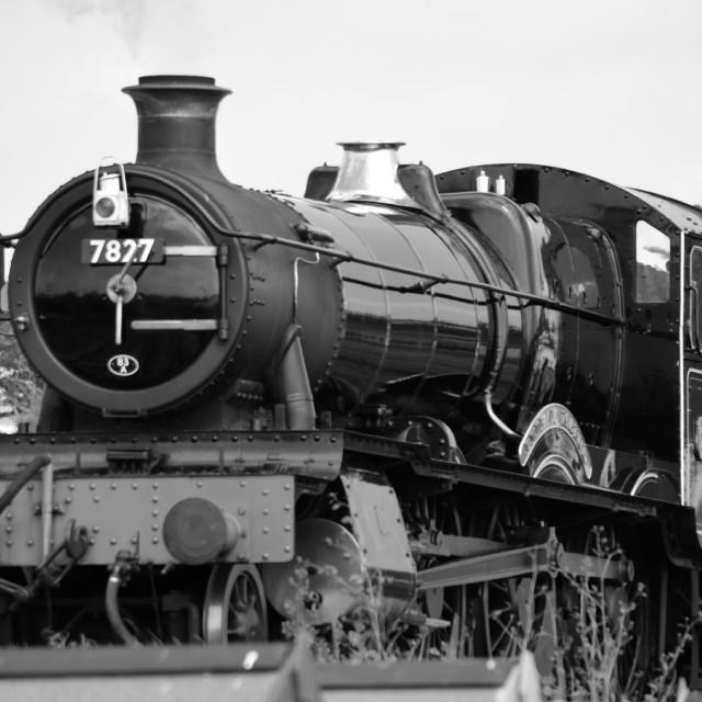 """Lydham Manor 7827 Steam Engine Monochrome"" stock image"