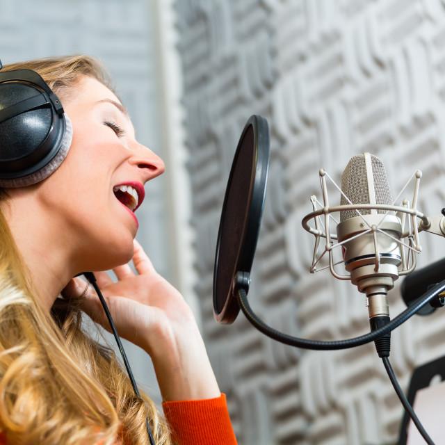 """Female Singer or musician for recording in Studio"" stock image"