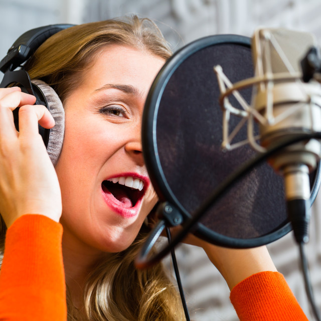 """Female Singer or musician for recording in Studio"" stock image"