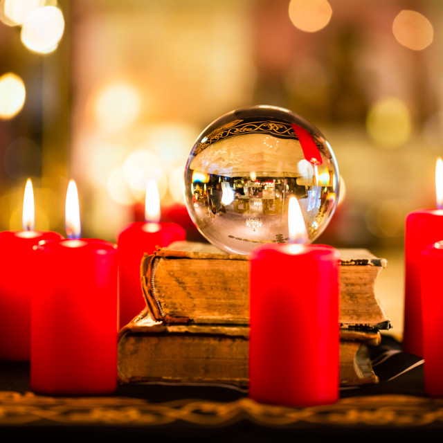 """""""Crystal ball in the candle light to prophesy"""" stock image"""