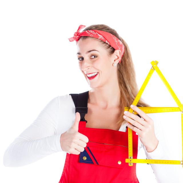 """Woman having fun at home improvement"" stock image"