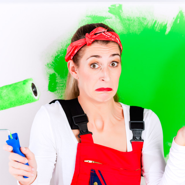 """""""Woman at home improvement and painting"""" stock image"""