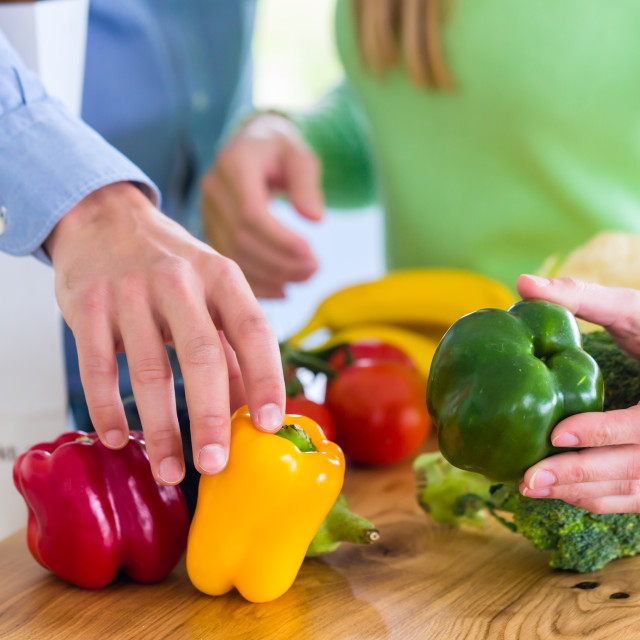 """""""Couple living healthy eating fruits and vegetables"""" stock image"""