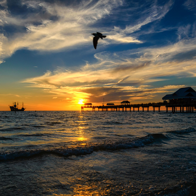 """Clearwater Beach Sunset Galleon"" stock image"