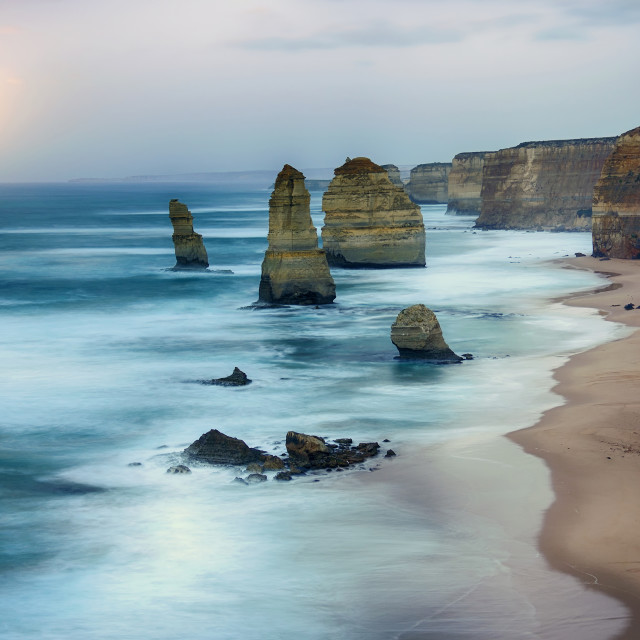 """Moon setting at Twelve Apostles Rocks"" stock image"