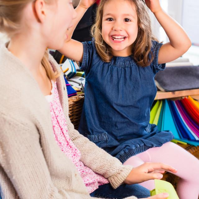"""""""Kids buying supplies in handicraft store"""" stock image"""