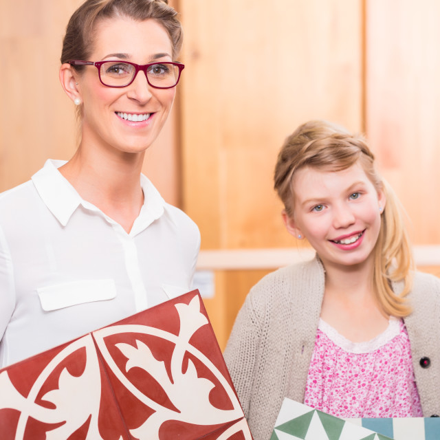 """""""Family with floor tiles in home improvement store"""" stock image"""