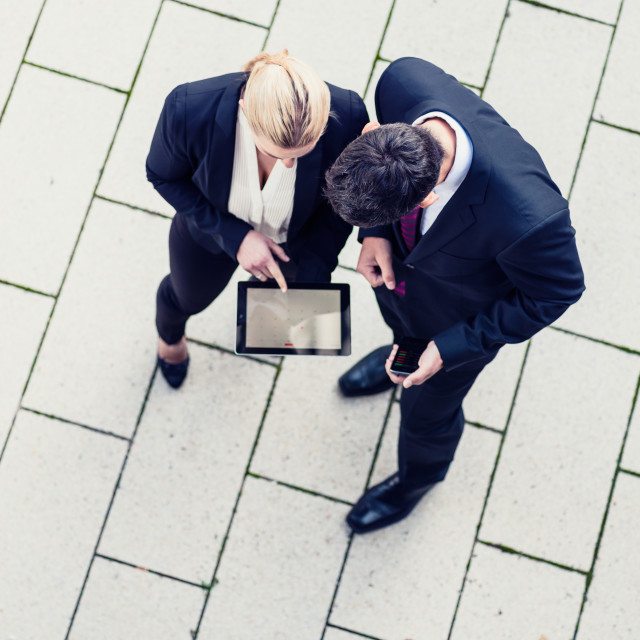 """""""Business man and woman in top view"""" stock image"""