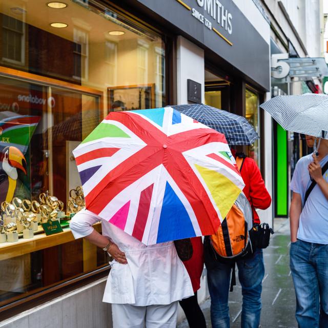 """UK Weather.Heavy Rain In Nottingham,UK."" stock image"