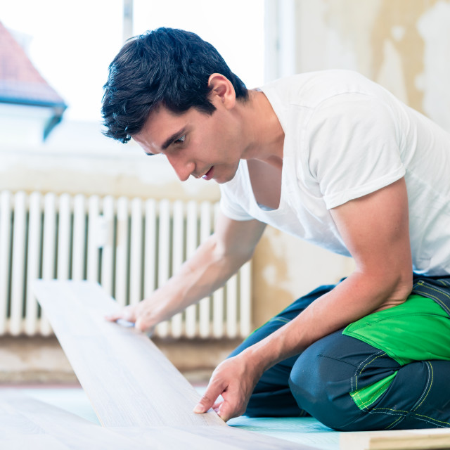"""""""Floorer working in home in improvement project"""" stock image"""